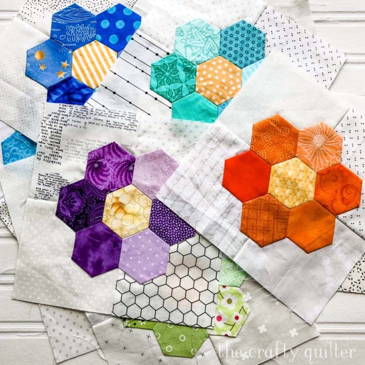 Hexagon flowers made by Julie Cefalu @ The Crafty Quilter