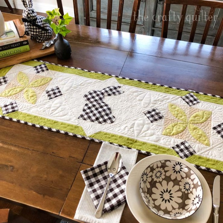 Love this Spring Bunny Table Runner tutorial from Julie @ The Crafty Quilter.  Simple applique and two pieced blocks make this a cute and fast project for Spring and Easter!