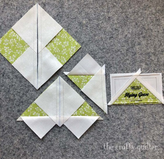 Making oversized flying geese units with the 4-at-a-time method @ The Crafty Quilter