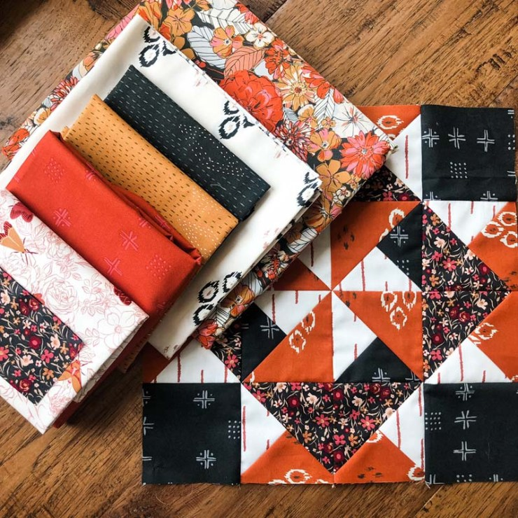 Favorite fall fabric collection!  Kismet by Sharon Holland for Art Gallery Fabrics.  Quilt block made by Julie Cefalu.  Pattern from Red at Night 2 BOM by Bound to be Quilting.