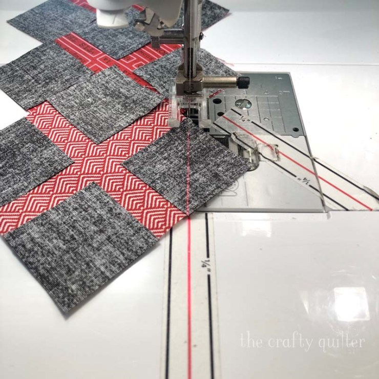 All The Trimmings Sew Along Row 1 from Fat Quarter Shop and made by Julie Cefalu.  You'll also find some great tips for stitch and flip corners @ The Crafty Quilter