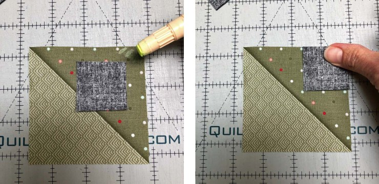 Stitch and flip tip number 1 - use a glue stick instead of pins to hold squares in place.
