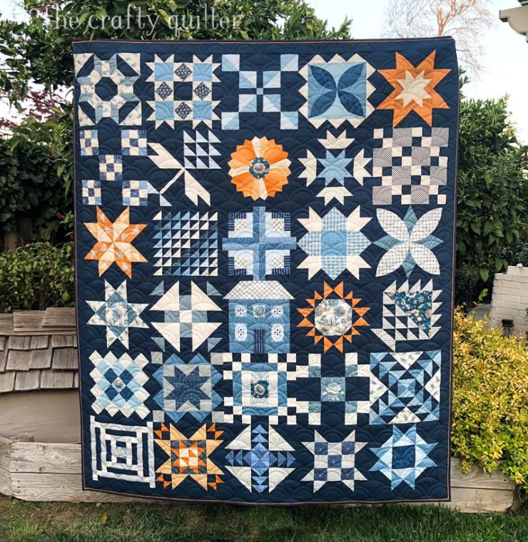 Moda Stitch Pink Quilt made by Julie Cefalu at The Crafty Quilter.  Free pattern by Moda Fabrics.