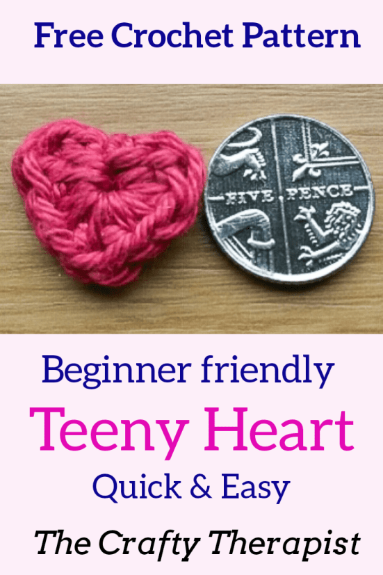 Tiny heart free crochet pattern by The Crafty Therapist