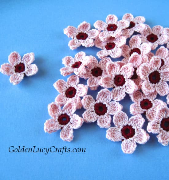 Cherry Blossoms by Golden Lucy Crafts - part of a Spring Floral crochet pattern round-up by The Crafty Therapist