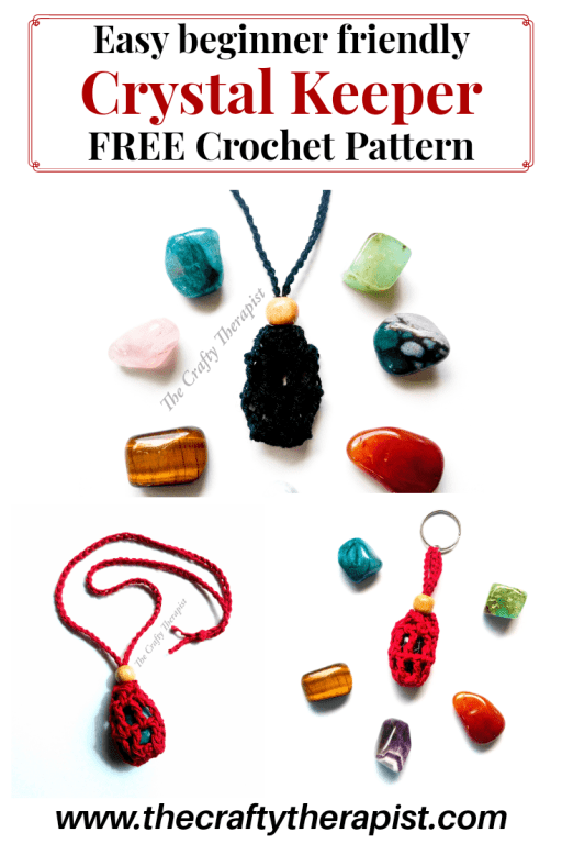 Pinterest graphic Crochet Crystal Keeper pattern by Janferie MacKintosh at The Crafty Therapist