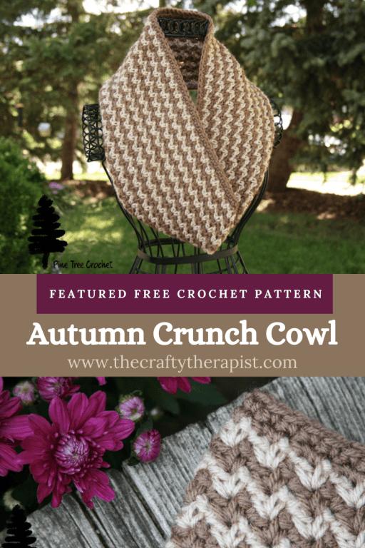 Pinterest pin for free crochet cowl pattern by Pine Tree Crochet