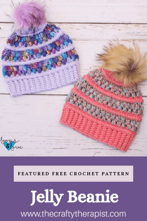 free crochet hat pattern, featured guest pattern the Jelly Beanie Loops and love crochet