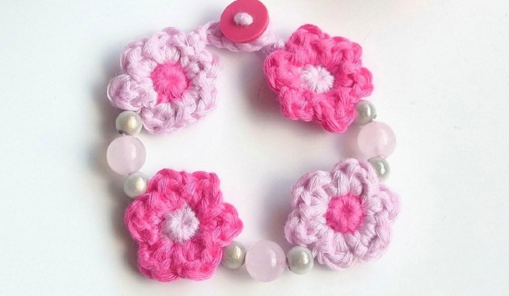 Spring Blossom crochet bracelet in pink