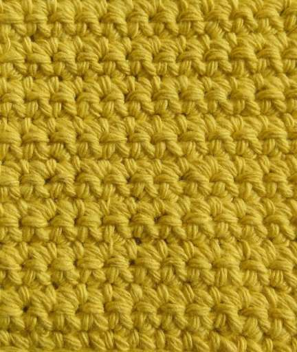 crochet sample in yellow recycled cotton yarn