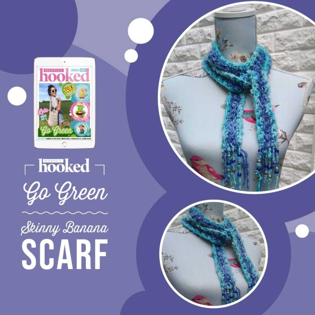 blue crochet scarf in banana yarn, an eco-friendly pattern.