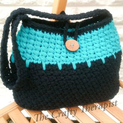 Navy and turquoise crochet bag - eco crochet ideas