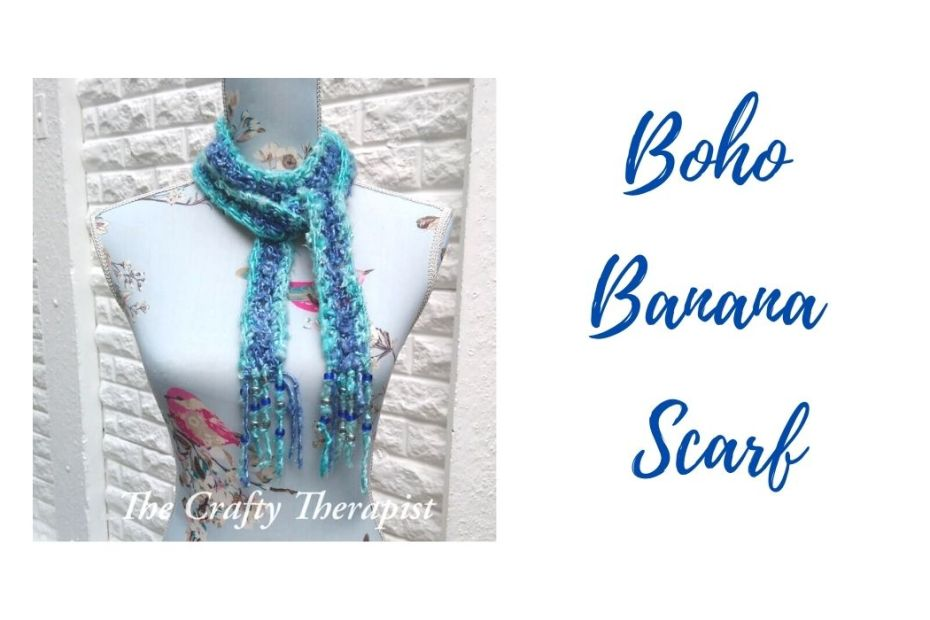 Boho skinny scarf crochet pattern made in banana yarn (blue and green colours). Free crochet pattern by The Crafty Therapist