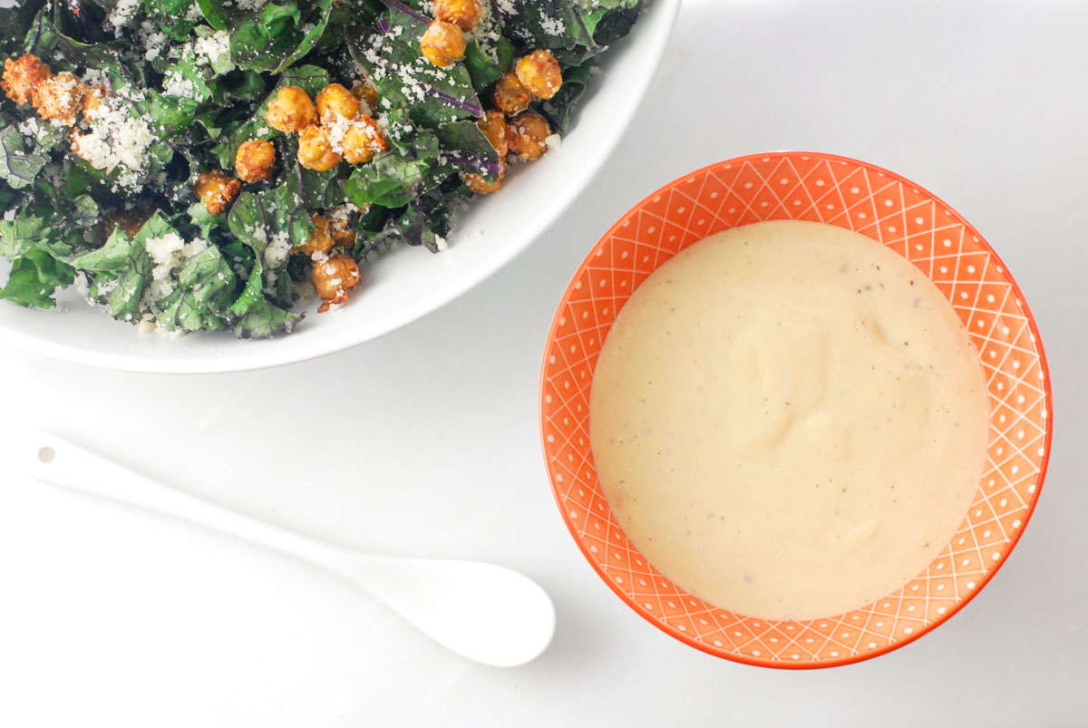 Kale Caesar with Chickpea Croutons