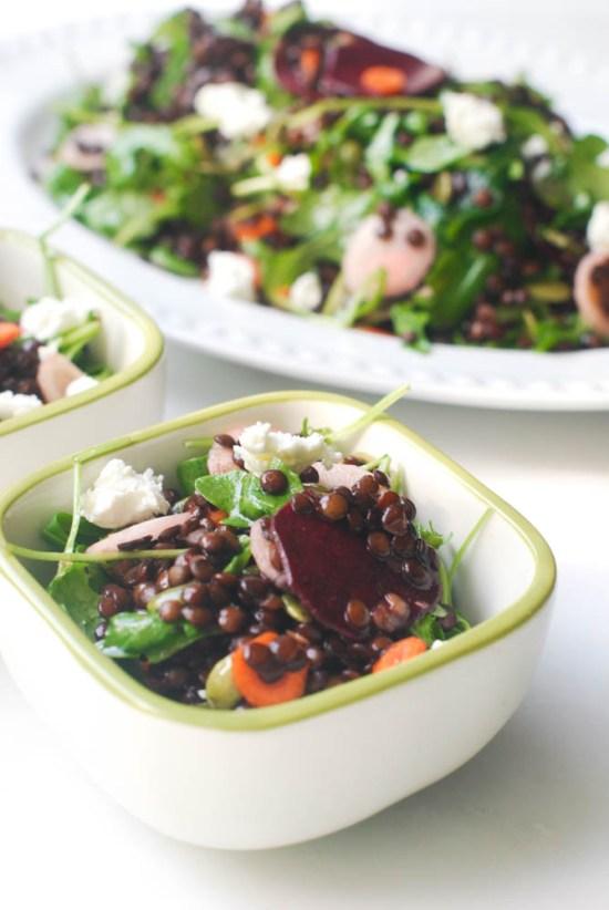 Beet, Carrot and Feta Lentil Salad