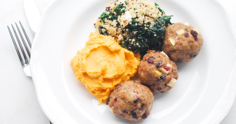 Turkey, Apple and Cranberry Meatball Dinner