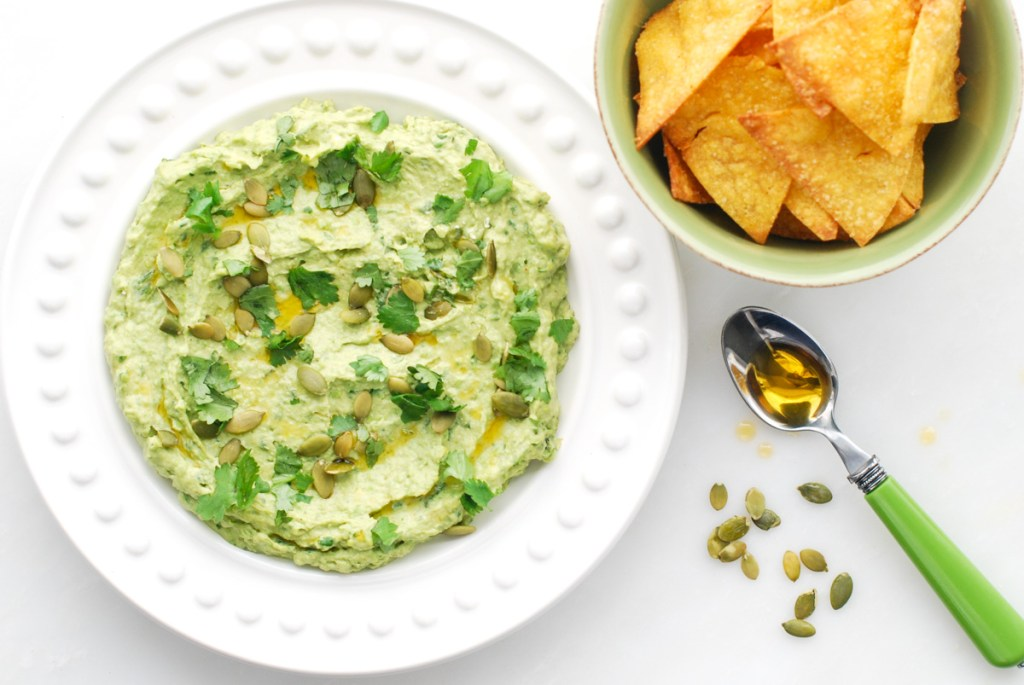 Healthy Snack Recipe: Avocado-Sweet Pea Hummus with Baked Corn Chips