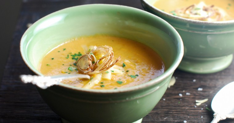 Cheesy Sweet Potato Soup