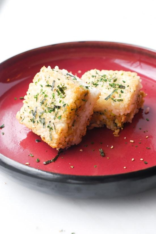 Crispy Rice Squares with Shrimp Salad
