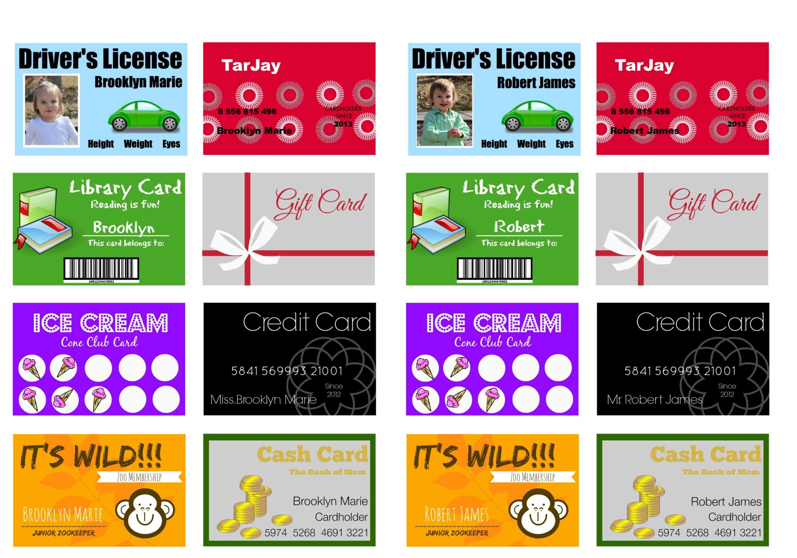 Printable And Customizable Play Credit Cards
