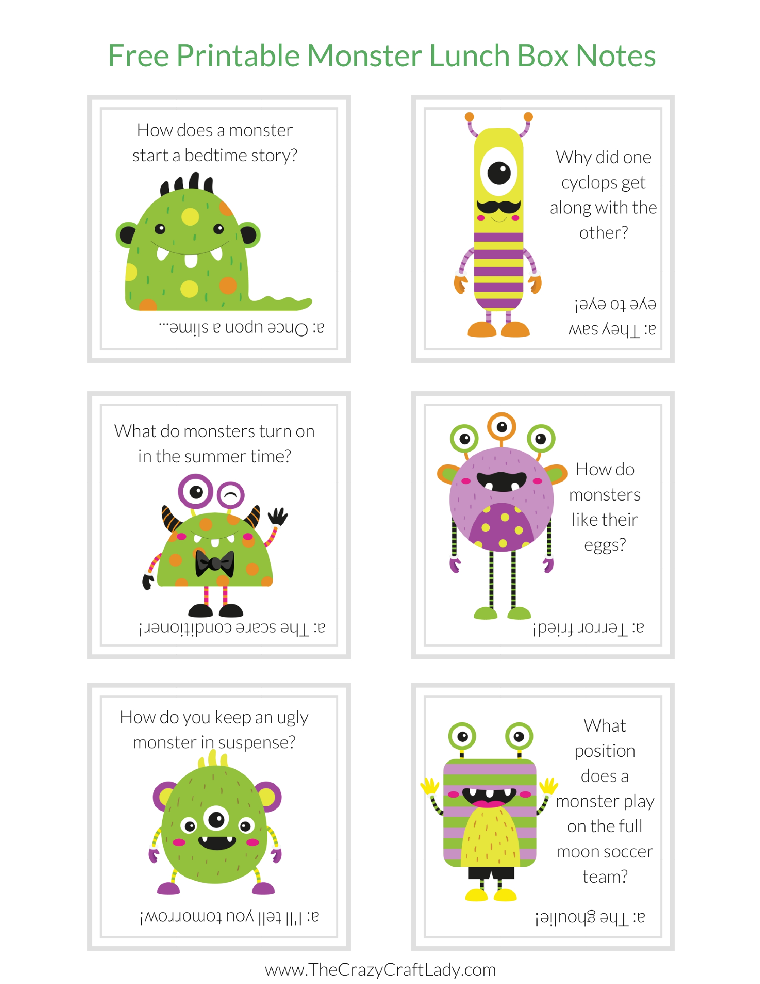 Free Printable Monster Lunch Box Notes