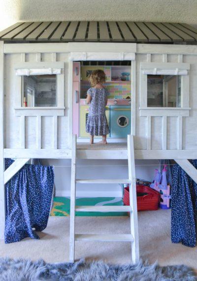 restoration hardware inspired cabin playhouse