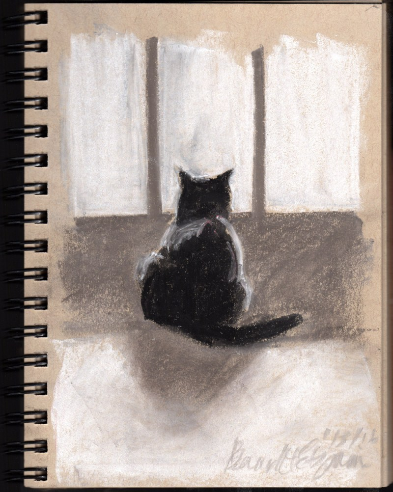 """Critter Watch"", gray pastels on toned paper, 5"" x 8"" © Bernadette E. Kazmarski"