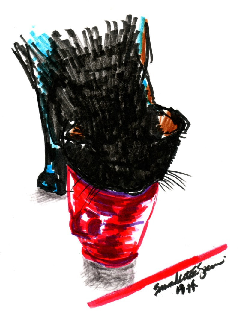 sketch of black cat drinking from coffee cup