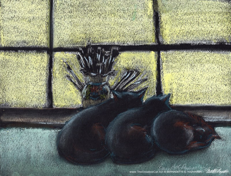 """Morning Shift Studio"", pastel on black pastel paper, 9 x 12 © Bernadette E. Kazmarski"