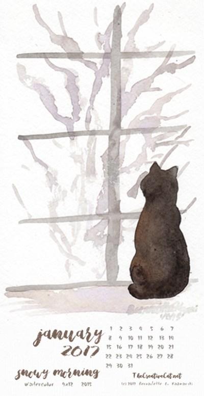"""""""Snowy Morning"""" desktop calendar, for 400 x 712 for mobile phones."""