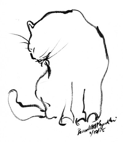 brush pen sketch of cat bathing