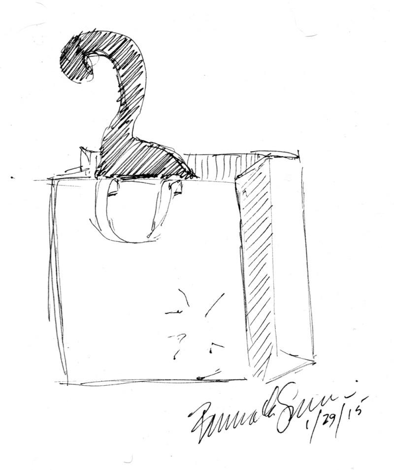 ink sketch of cat in bag