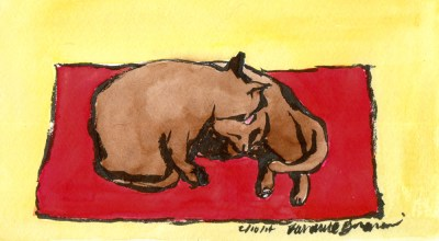 inkand watercolor sketch of two cats