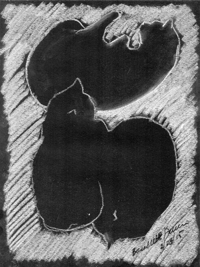 """Three Black Cats on White"", 9"" x 12"", white pastel on black paper © Bernadette E. Kazmarski"