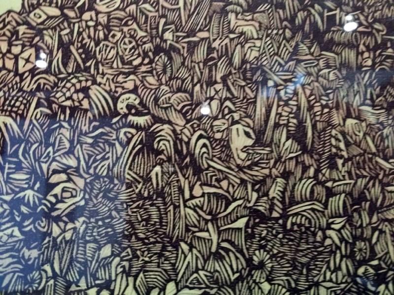 Detail of woodblock print by Tugboat Press.