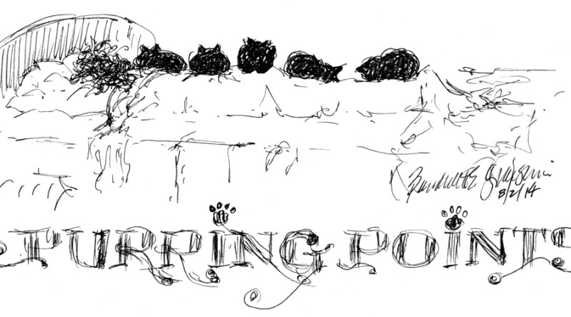 ink sketch cartoon of cats lined up on sleeping person