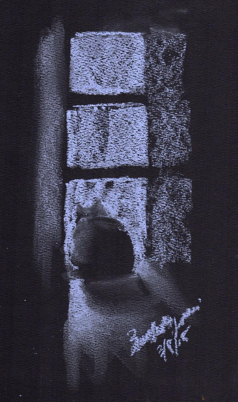 """Dusk"", blue soft pastel on black pastel/charcoal paper, 8.5"" x 10.5"" © Bernadette E. Kazmarski"