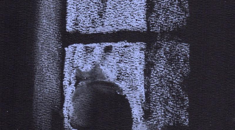 """Dusk"", blue soft pastel on black pastel/charcoal paper, 6"" x 11"" © Bernadette E. Kazmarski"