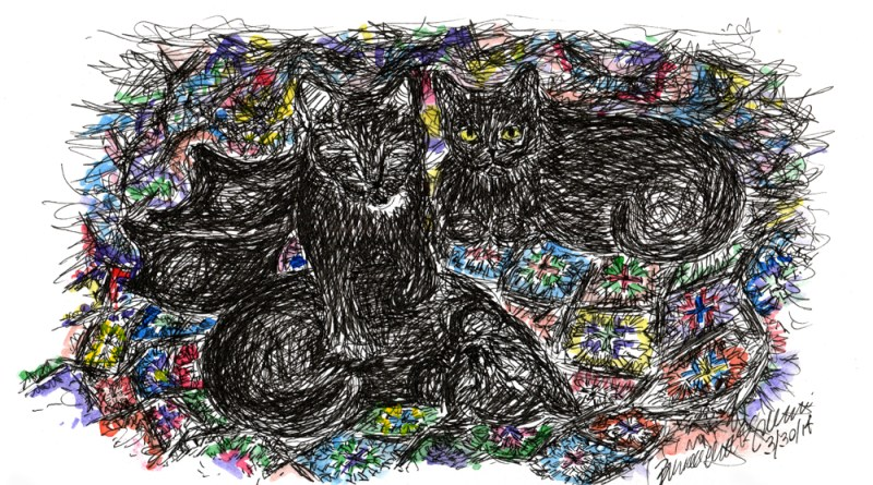 ink and watercolor sketch of cats on afghan
