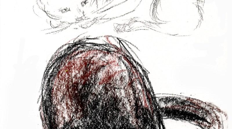 conte crayon sketches of cat