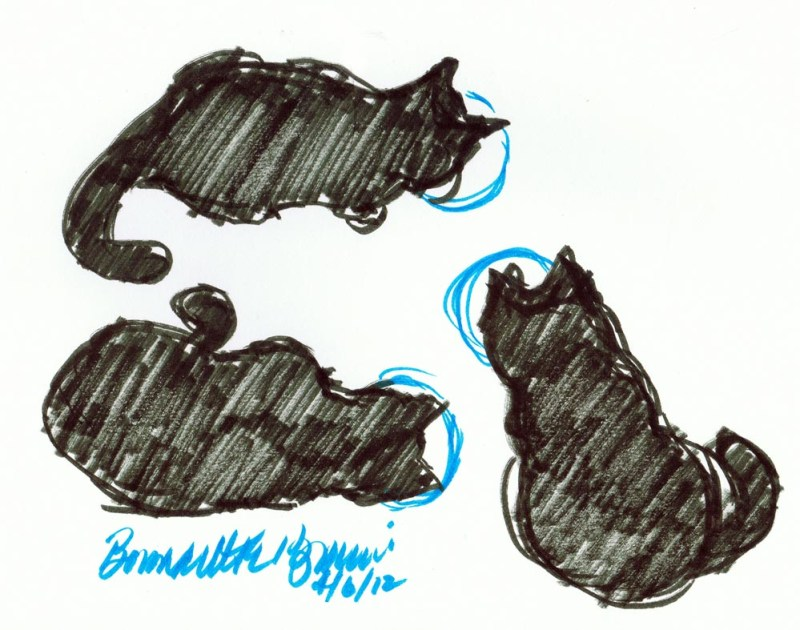 brush marker sketch of three black cats eating
