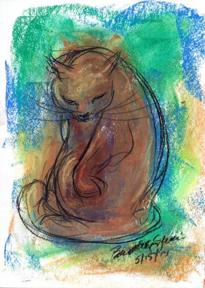 pastel sektch of cat bathing