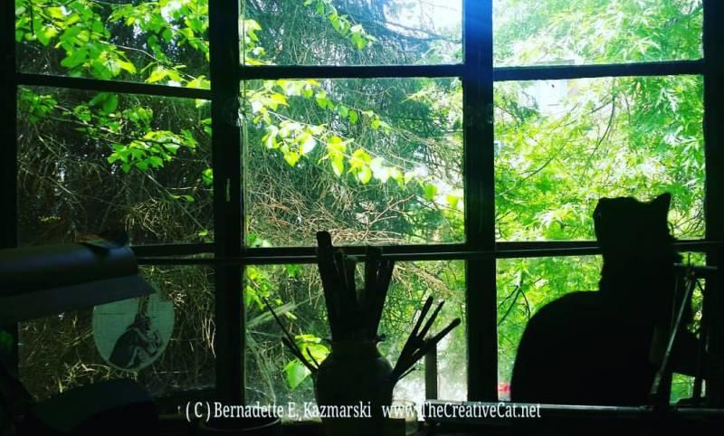 Hamlet on the studio windowsill.