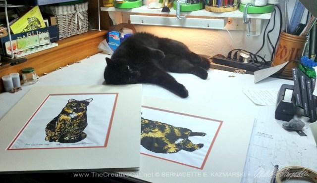 black cat with block prints