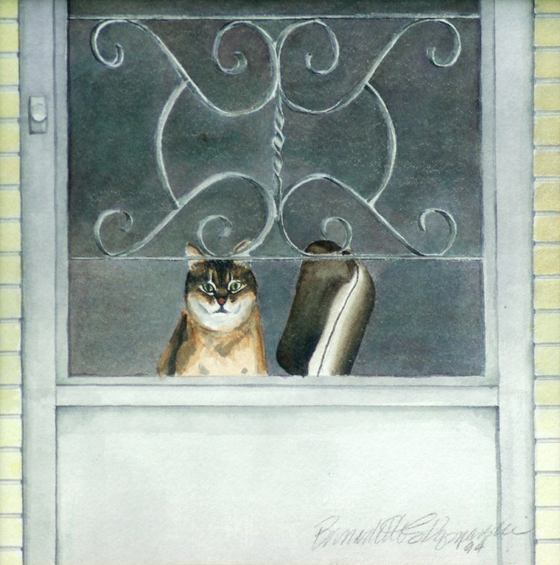 watercolor portrait of abyssinian cat