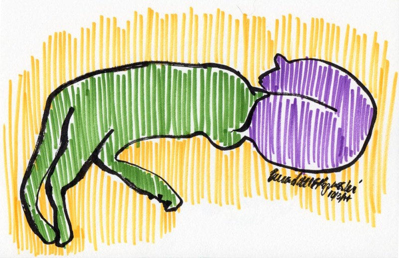 sketch of two cats napping