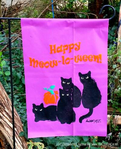 Happy Meowloween Garden Flag