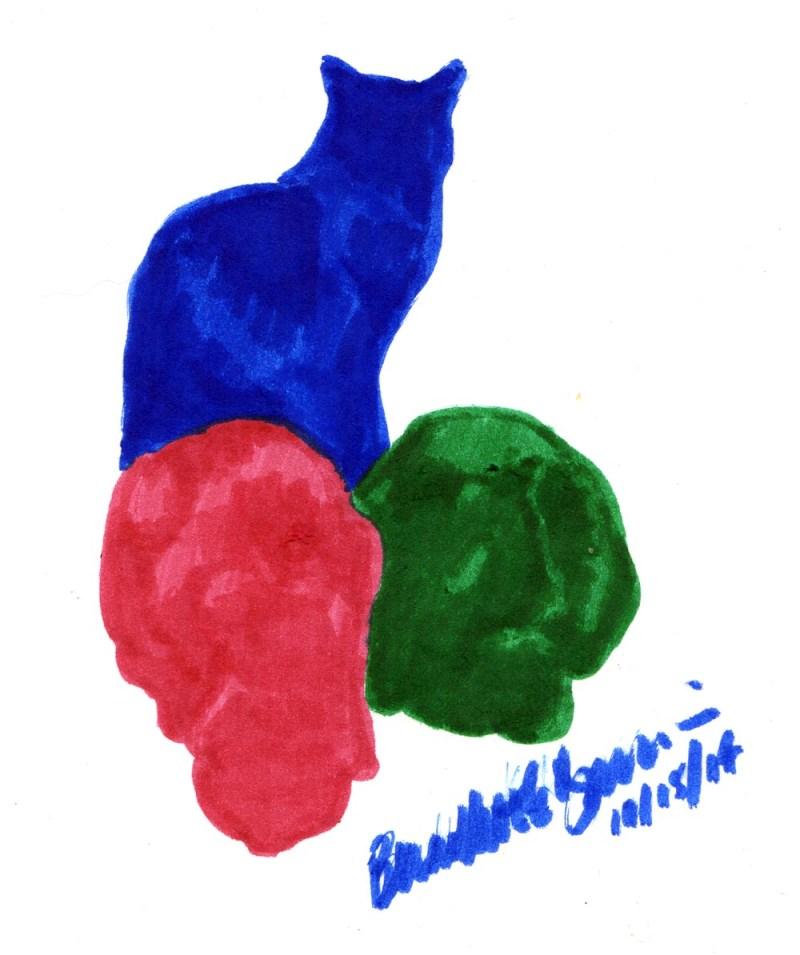 brush marker drawing of three cats