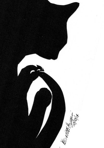 cut paper art of black cat