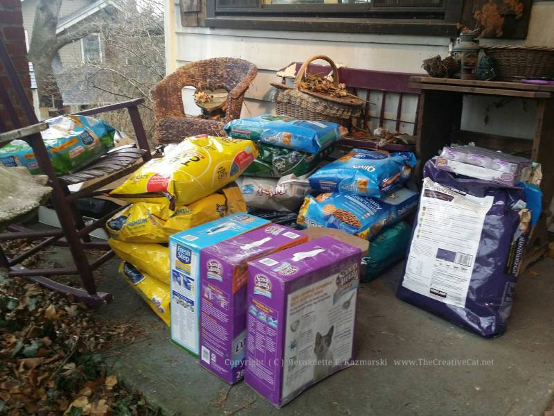 Donated dry food and litter.